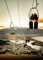 From Queenstown to the top (amcatena) Tags: city sunset mountains travel new zealand snow skiing queenstown