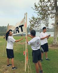 006 The Start Banner Goes Up (saschmitz_earthlink_net) Tags: 2017 california longbeach eldorado orienteering laoc losangelesorienteeringclub losangeles losangelescounty eldoradoeastregionalpark park parks