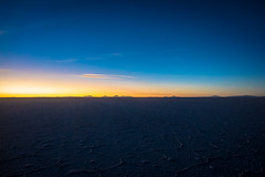 A beautiful sunset on the Salar de Uyuni.