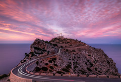 Phalesia (raymond_carruthers) Tags: lighthouse lighttrails spain sunset mediterraneansea cliffs mallorca island sunsetcolours capdeformentor islasbaleares longexposure holiday clouds