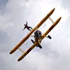 Wing-walking (Goolio60) Tags: flying aircraft aviation breighton biplane stearman wingwalking stunt