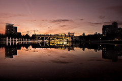 Split screen reflection (Jochem.Herremans) Tags: bar reflection sky antwerp antwerpen belgium europe urban lights cranes buildings water party cargo