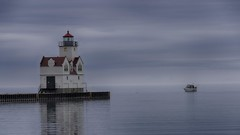 Foggy Lighthouse Visit  ***Explored 10/13/17*** (NikonD3xuser1(Thanks for 1.8 million visits)) Tags: usa wisconsin lakemichigan boat fishing fog overcast water lighthouse sky dark sturgeonbay