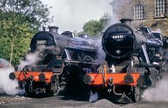A Pair Of Black Staniers. (neilh156) Tags: steam steamloco steamengine steamrailway railway 48431 44767 georgestephenson haworthyard haworth keighleyworthvalleyrailway kwvr worthvalleyrailway stanier8f 8f black5 lms stanier