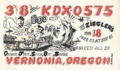 The Viking: Orange Juice, Spook, Boy Shark - Vernonia, Oregon (73sand88s by Cardboard America) Tags: vintage qsl qslcard cbradio cb theviking