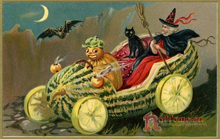 A Witch with a Veggie Chauffeur in a Halloween Melon-mobile