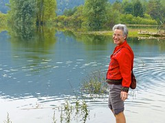 Catherine wading in Lake Cdernica (ali eminov) Tags: cerknica slovenia lakes lakecerknica landscapes people catherine