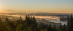 Vancity Autumn Morning (Sworldguy) Tags: sunrise skyline vancouver foggy harbour bridge britishcolumbia canada morning pacificnorthwest bc orange landscape cypress mountains lionsgate panoramic nikon d7000 dslr downtown tourism cityscape port