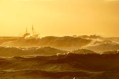 spray sunset 2 (Wöwwesch) Tags: boat sunset spray waves ocean golden stormy yellow water coast northsea noordzee golven wellen boot seagulls oktober shoreline möwen meeuwen fishing ngc