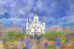 St Louis Cathedral (LarryHB) Tags: texture horizontal hdr photography connection historic old people scenic neworleans spiritual church digitalart nrhp larrybraunphotography