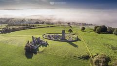 Hill of Slane from the air (mythicalireland) Tags: aerial drone dji phantom 3 advanced hill slane meath ireland fog mist valley