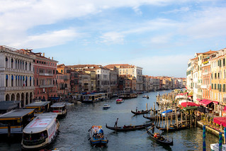 Venice, the grand canal, view from Rialto bridge