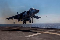 "McDonnell Douglas (now Boeing) AV-8B ""Harrier"" (aeroman3) Tags: 11thmarineexpeditionaryunit 11thmeu meu harriers av8b bombs deployment westernpacific162 westpac162 pacificocean ussmakinisland makin lhd8 marinemediumtiltrotorsquadron163 vmm163 marines 5th 7th pacom mv22osprey osprey mv22 ordnance xs"