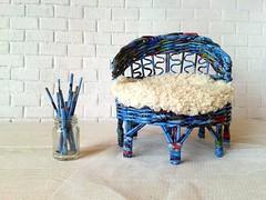 Sofa, bed for dolls. Wickerwork for Elsa frozen, bratz, blythe, ellowyne and other tiny dolls. Wicker Handmade shop.