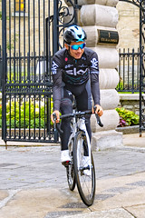 Sergio Henao of Team Sky before the start of a training ride in Quebec City. (Ray's Professional Cycling Page) Tags: cycling race sport bikes wielrennen cyclisme racing peleton sports cyclismo gpcqm quebec uciworldtour grandprixcyclistedequebec canada bicycleracing