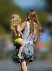 Hip Held Classic Style (swong95765) Tags: carry mother girl kid hip hold blonde cute bokeh