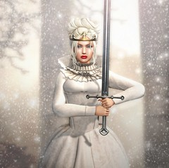 Something wicked this way comes... (Kacey Macbeths) Tags: junbug theforge bauhausmovement truthhair catwa beautiful beauty winter sword queen snow secondlife woman ikon weloveroleplay
