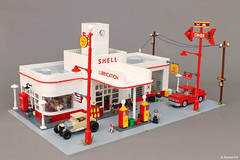 Art Déco Gas Station (Andrea Lattanzio) Tags: gaspump station shell lego pickup ford route66 66 artdeco streamline garage diner service norton74 foitsop workshop tucson petrol hotrod