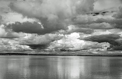 Bristol Channel clouds (tramsteer) Tags: tramsteer motorway bridge clouds cumulonimbus monochrome blackwhite reflections water bristolchannel somerset