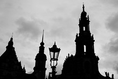 Dresden - Altstadt towers (nican45) Tags: 18270 18270mm 18270mmf3563diiivcpzd 2017 25september2017 25092017 altmarkt altstadt baroque canon dslr deutschland dresden eos70d germany hofkirche sachsen saxony september tamron architecture bw blackwhite blackandwhite church lamppost oldtown silhouette tower