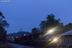 Blue Tea (nrvtrains) Tags: christiansburgdistrict cambriast bluehour predawn manifest 15t depot norfolksouthern christiansburg virginia unitedstates us