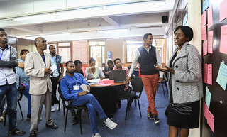 Annet Mulema answers questions from participants