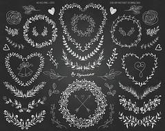 """Chalkboard Laurel Clip Art Clipart: """"Chalkboard Laurels"""" with chalkboard laurels, elements, leaves, wreaths, flourishes, floral elements. (Digiworkshop) Tags: etsy digiworkshop scrapbooking illustration creative clipart printables cardmaking wreath laurel wreaths chalkboard floral chalk wedding laurels invitation"""