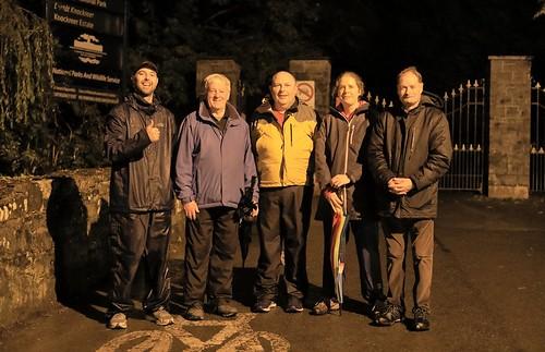 W5D_7492   Wet group at Kingsbridge, Killarney after walking the Fossa Way.  24th October 2017.