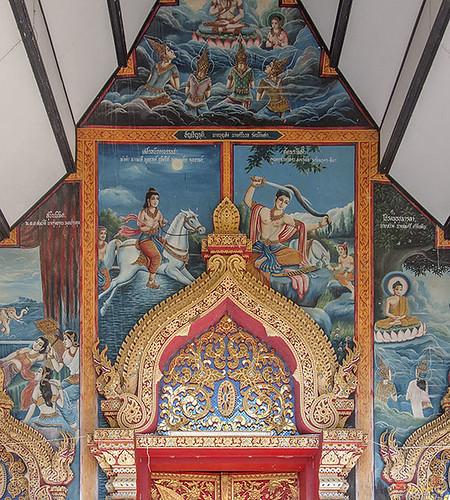 Wat Buppharam Phra Wihan Entrance Painting and Door Lintel (DTHCM1574) วัดบุปผาราม ภาพวาดที่ทางเข้าและขื่อประตู พระวิหาร