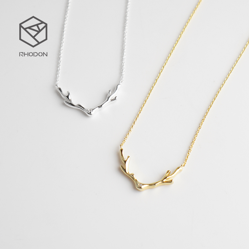 RHODON Christmas elk plated 14K GOLD 925 silver necklace, lady antlers, Japan and Korea sterling silver pendants, simple collarbone chain