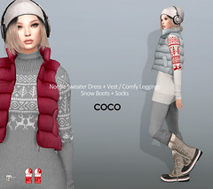 COCO_@Uber_October.25 (cocoro Lemon) Tags: coco newrelease uber nordic sweater dress snowboots socks leggings puffyvest secondlife fashion mesh maitreya slink