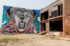 Roaring Mural (FrogLuv) Tags: thedequindrecut detroitmichigan bicycle railstotrails murals graffiti viaduct tagging lion mural
