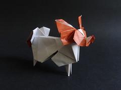 Papillon dog designed by Hideo Komatsu [Hideo Komatsu challenge 44/50] (Orizuka) Tags: origami hideokomatsu hkchallenge dog papillondog kamipaper