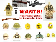THINGS I WANT (besides a universal socialist state and forced adherence to the Church of the Flying Spaghetti monster) (gefreiter eugene krabs) Tags: fs trade ego pacific wants japan japanese usmc ija ww2 military cb tmc edgy kek memes lego suicidalthoughtswithlarrythetomato