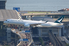 B-LRN A350 Hong Kong (ColinParker777) Tags: cathay pacific airways airlines airbus a350 a350900 a359 359 cx cpa hong kong hkg vhhh chek lap kok airport terminal cars lantau air plane flight fly flying pilots engines rolls royce airliner aircraft landing finals canon 7d 7dmkii 7dmk2 7d2 200400 l pro lens zoom telephoto blrn