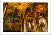 In St Giles' cathedral (G. Postlethwaite esq.) Tags: 3exposures crieff edinburgh hdr lightroom royalmile sonya7mkii sonyalphadslr stgiles arches cathedral flags fullframe mirrorless oldtown photoborder pillars ribs vaultedceiling