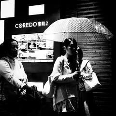 Rainy Night (RW Sinclair) Tags: 2017 asia autumn fall japan october sony a6000 alpha csc digital milc mirrorless tokyo blackandwhite bw people japanese night rain rainy wet reflection woman umbrella nihombashi 東京 日本 日本人 人間 雨 傘 女の子 女 白黒 モノクロム モノトン モノクロ 秋 十月