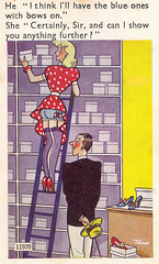 Anything Further in 1955 (pepandtim) Tags: postcard old early nostalgia nostalgic anything further blue bows she shop hat shoes boxes ladder stockings blonde polkadot richter london brighton 03071955 1955 seward homeleigh lower way newbury berks berkshire bill esme aunt rose cool wind blowing kay ted 44any72 trow rock around clock haley comets unchained melody jimmy young