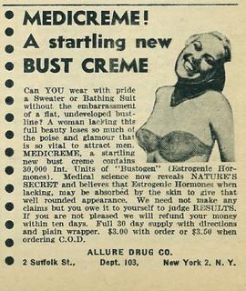 1950 Ad, Medicreme Bust Creme, Allure Drug Co.