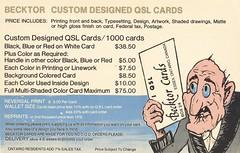 Becktor: Becktor Custom Designed QSL Cards - Essex, Ontario (73sand88s by Cardboard America) Tags: vintage qsl qslcard cbradio cb ontario artistcard becktor