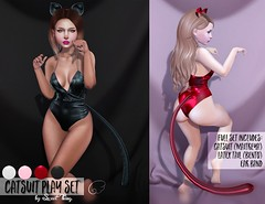 Catsuit Play Set by Sweet Thing. (Sweet Thing.) Tags: sl secondlife second life sweetthing ayashula zbrush substance halloween costume cat neko catsuit latex plastic cosplay maitreya bento tail ears ouan mainstore