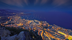 Monaco - Blue hour (Alex Lud) Tags: alexlud bluehour france monaco montecarlo night evening frenchriviera yacht boat light city urban longexposure clouds rocks stadium harbor port casino