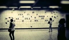 Day 307: Is for ... The Gatherings (Storyteller.....) Tags: 365 deep365 nikon nikon365 metro athens greece blackandwhite blackwhite women people three birds lights walking gathering graffiti