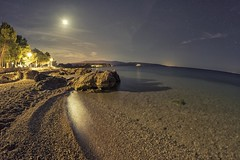 0606 Beach Moonlight (Hrvoje Simich - gaZZda) Tags: water seascape outdoors noperson sky stars moon moonlight beach stone sand lights longexposure krk croatia europe travel vacation nikon nikond750 samyang1228 gazzda hrvojesimich