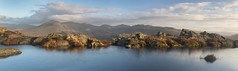 Early Morning Panorama from Harter Fell (Nick Landells) Tags: harterfell lakedistrict lakelandphotowalks morning light autumn slightside scafell scafellpike illcrag eskpike bowfell crinklecrags hardknott upper eskdale panorama tarn reflection reflections