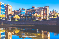 The Malt (atomikkingdom) Tags: street water pavement center waterways boats walk town light tunnel birmingham canal narrowboat apartment blue uk cloud centre cars sky bright ideas accommodation happy moored