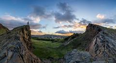 Volcanic Rocks (Kyoshi Masamune) Tags: edinburgh arthursseat salisburycrags pentlandhills pentlandhillsregionalpark holyroodpark ultrawideangle wideangle uk scotland kyoshimasamune panorama volcanicrocks volcano clouds cloudscape hdr highdynamicrange citypanorama cityscape sunset goldenhour