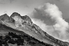Mountainside (John Fÿn Photography) Tags: bw blackandwhite europe gray grey mono monochrome switzerland alps altitude cloud crag elevation foothills hill landscape mountain outdoor peak pinetrees range ridge rock shadow steep orsières valais ch
