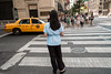 Pale blue back (StephanPhoto) Tags: 295fifthavenue 31ststreet 5thavenue blackhair blouse blueshirt candid crosswalk manhattan midtownmanhattan newyork newyorkcity redlights street taxicab textilebuilding woman