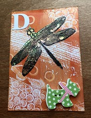 D is for... (CraftyBev) Tags: atc button dog dragonfly angelina fusiblefibres fusiblefilm gelliprinting